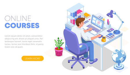 Modern flat design isometric concept of Online Education. Landing page template. Student character sitting at desk and taking online courses. Can use for web banner, infographics, and website. Vector Ilustrace