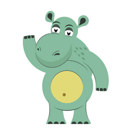 Funny hippo isolated on white background. Cute animal in flat style. Vector illustration for abc book