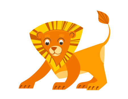 Cute little lion in flat style. African animal for abc book. Vector illustration