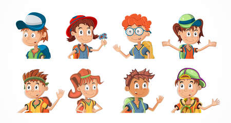 Bundle of cartoon children portraits. Collection of kids avatars with different hairstyle and skin colors. Child expression faces little boys and girls vector illustration