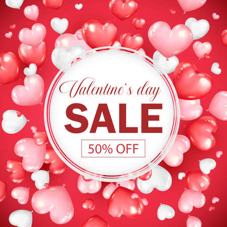 Valentines day sale banner design with heart shape ballons. Promotion and shopping template on red background vector illustration.