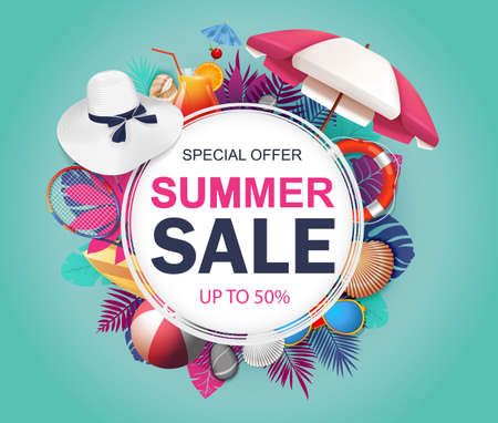Summer sale banner design for promotion with tropical leaves and colorful beach elements. Vector illustration Vectores