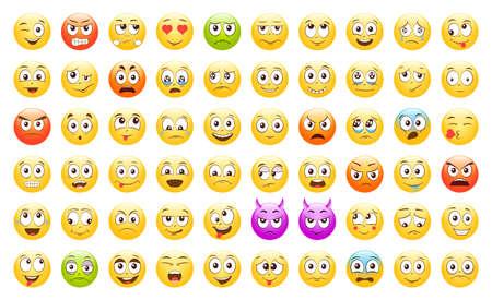 Set of Emoticons. Emoji. Smile icons. Isolated vector illustration on white background Vetores