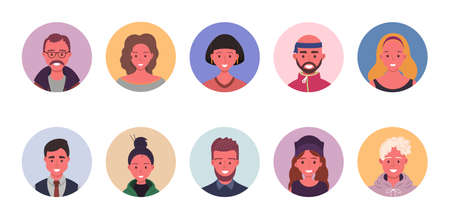 People avatar bundle set. User portraits in circles. Different human face icons. Male and female characters. Smiling men and women characters. Flat cartoon style vector illustration