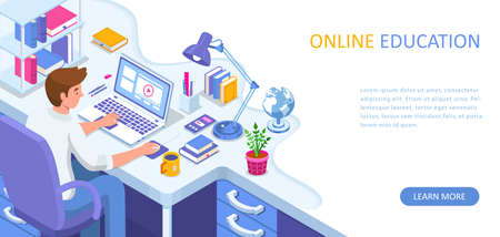 Learning online at home. Student sitting at desk and looking at laptop. E-learning banner. Web courses or tutorials concept. Distance education flat isometric vector illustration. 向量圖像