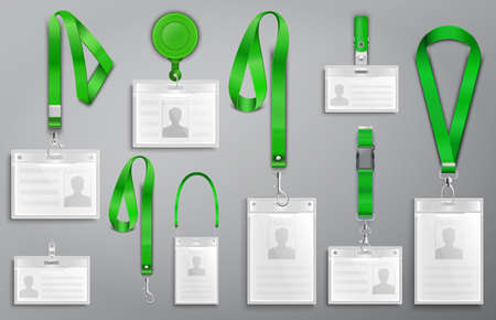 Set of realistic badges id cards on green lanyards with strap clips, cord and clasps vector illustration