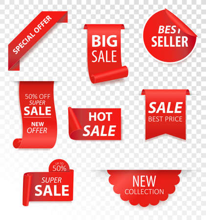 Price tags, red ribbon banners. Sale promotion, website stickers, new offer badge collection isolated. Vector illustration. 向量圖像