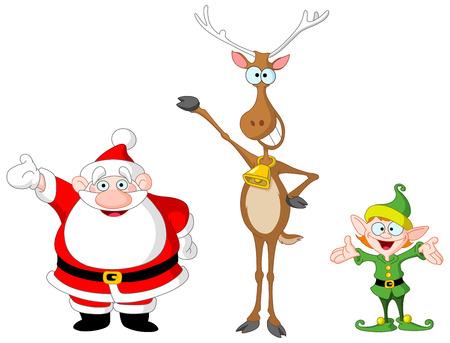 Muy lindo de Santa Claus, rudolph y elf Vectores