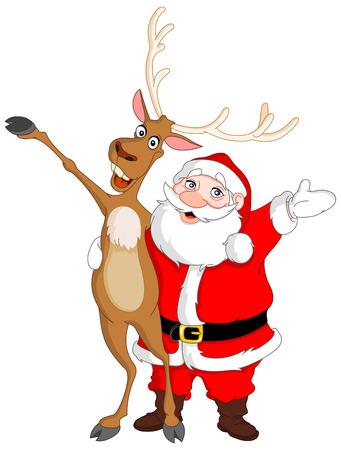 papa noel: Santa y Rudolph