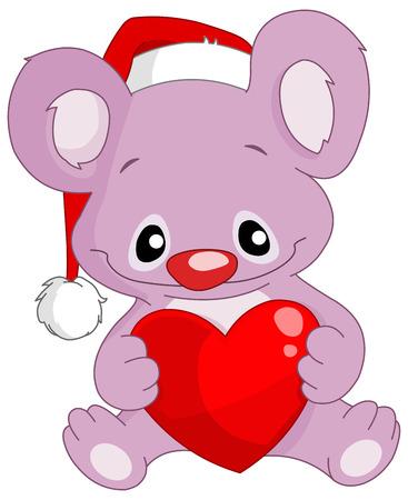 Cute koala with Santa's hat holding a heart Vector