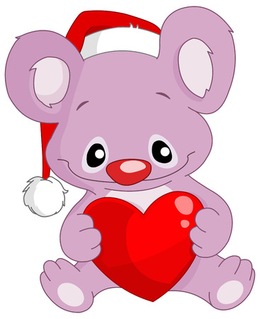 Cute koala with Santa�s hat holding a heart Vector