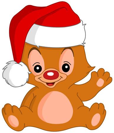Cute Christmas teddy bear waving his hand Vector