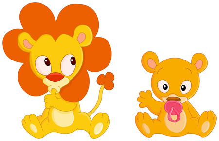 Cute Baby lion and baby lioness Stock Vector - 6096161