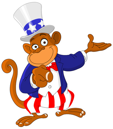 Pointing monkey dressed as Uncle Sam icon I want you Vector