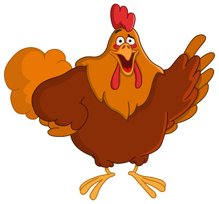 Pointing rooster Vector