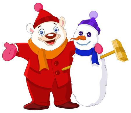 Smiley Polar bear hugging a snowman Illustration