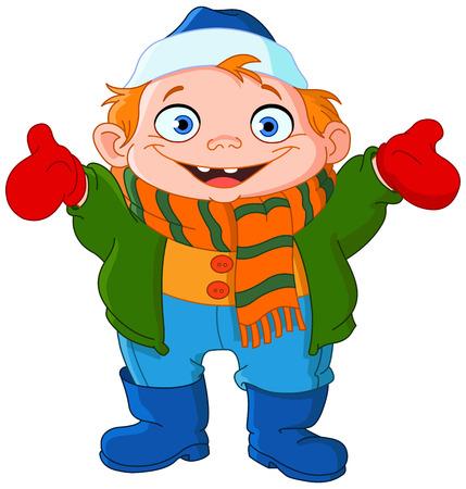 winter fun: Schattige jongen in de winter Stock Illustratie