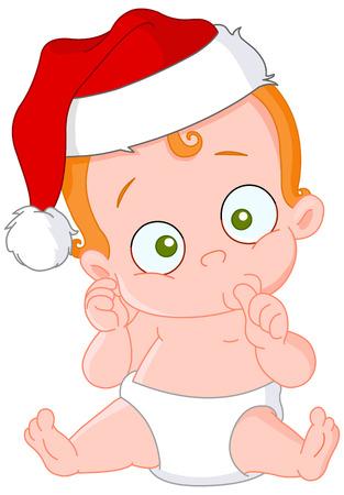 baby kerst: Cute redhead baby met Santa�s hoed  Stock Illustratie