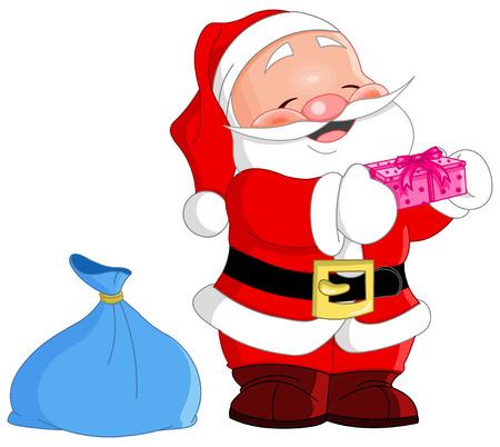 cute Santa Claus halten ein Geschenk