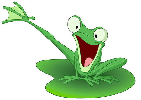 Happy frog on a lily pad