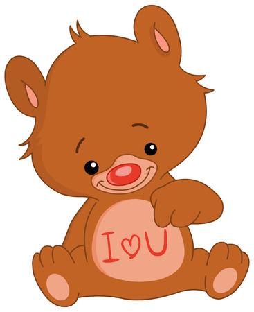 i love u: I love U teddy bear  Illustration