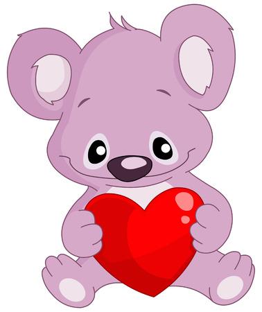 Cute koala holding a heart Vector