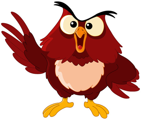 teacher student: pointing owl