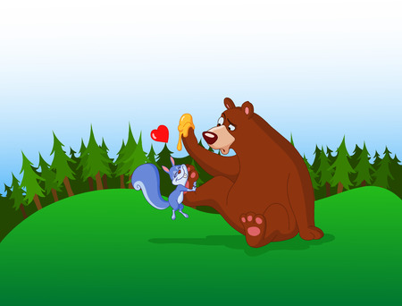 Squirrel in love with a bear in the forest Vector