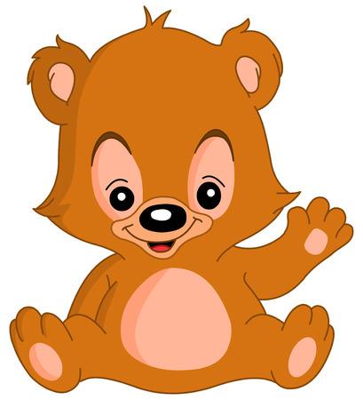 hi: Cute teddy bear waving his hand Illustration