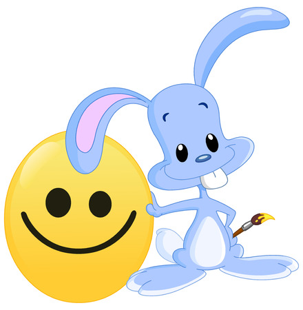 Cute bunny lying on his painted smiley Easter egg holding a paintbrush Vector