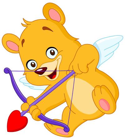 Cupid teddy bear ready to shoot his arrow Vector