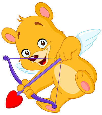 Cupid teddy bear ready to shoot his arrow Vector