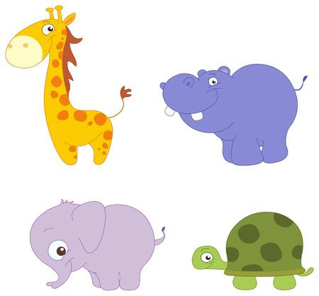 hippopotamus: Conjunto de ilustraci�n de Lindos animales: jirafa, la hipop�tamo, el elefante y la tortuga