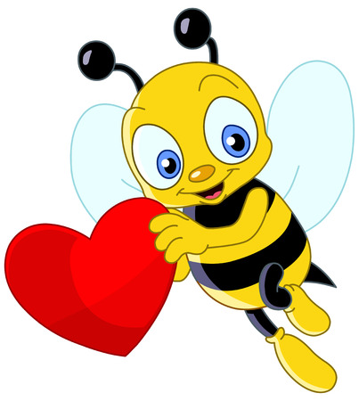 Cute bee holding a heart