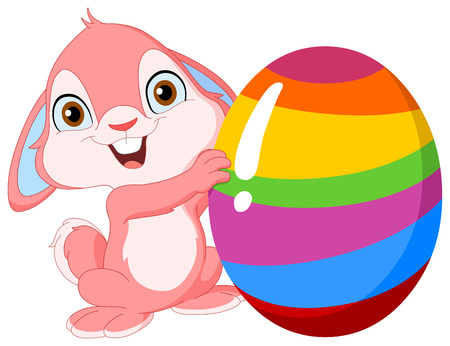 easter card: Cute pink bunny holding Easter egg
