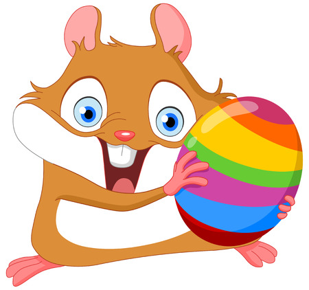 Cute hamster holding Easter egg Vector