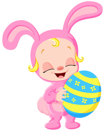 Cute baby dressed up as a pink bunny and holding egg Vector