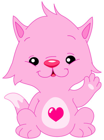 kitties: Cute pink kitten with a heart shape on his belly waving hello  Illustration