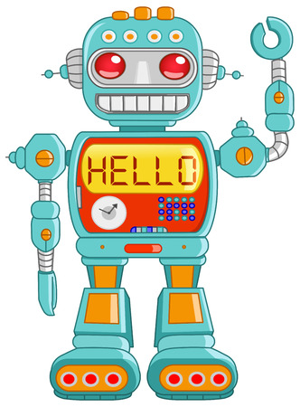 funny robot: Retro robot toy waving hello Illustration