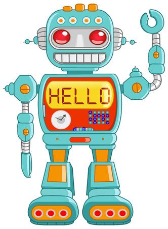robot: Retro robota zabawki wskaźnik powitania