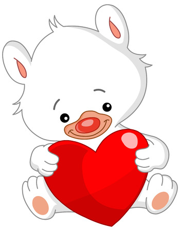 White teddy bear holding a big heart Vector