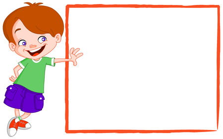 cute border: Happy kid leaning on a blank sign Illustration