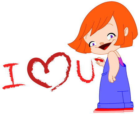 love you: Cute little girl writing I love you Illustration