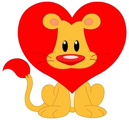 of lions: Cute Le�n con un coraz�n rojo en forma de melena  Vectores