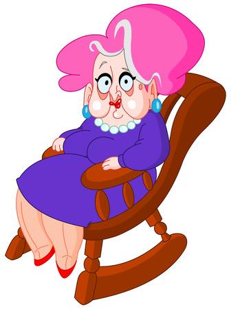 Oude dame zittend op een schommelstoel Stockfoto - 6652968