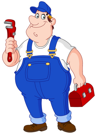 overall: Smiley repairman holding big wrench and tool box Illustration