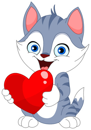 Smiley cat holding a heart Stock Vector - 6652975