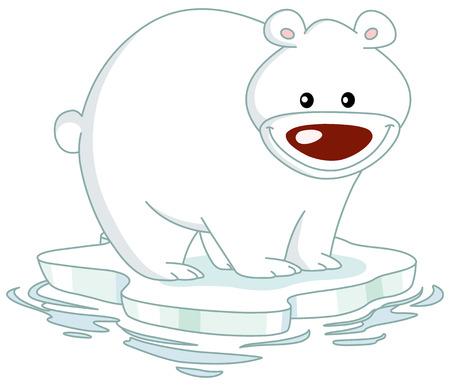 illustration zoo: Smiley orso polare in piedi su un ghiaccio untouched  Vettoriali