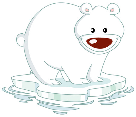 teddy bear christmas: Smiley Polar bear standing on an ice floe