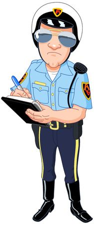 police cartoon: Policeman in uniform writing a ticket  Illustration
